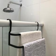 Porta Toalhas Duplo Toalheiro Para Box Preto Fosco 60cm - Metalcromo