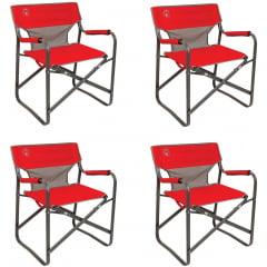 4 Cadeiras Dobráveis para Camping Steel Deck Vermelha - COLEMAN