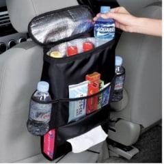 Organizador Portátil Cooler Bolsa Térmica para Carro e Automóvel com porta-treco multiuso