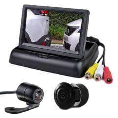 Camera de Ré com Tela Monitor Veicular 4.3 Vídeo LCD